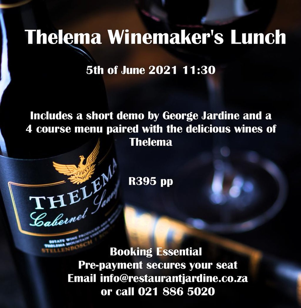 Join us this Saturday the 5th of June 2021 at Restaurant Jardine for lunch hosted by our winemaker, Rudi Schultz.R395 p/pBook now as space is limited: info@restaurantjardine.co.za#thelemawines #drinkthelema #tastethelema #winemakerslunch #foodandwinepairing #stellwineroute #visitstellenbosch #southafrica